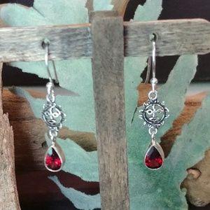 Aztec Sun Garnet Earrings
